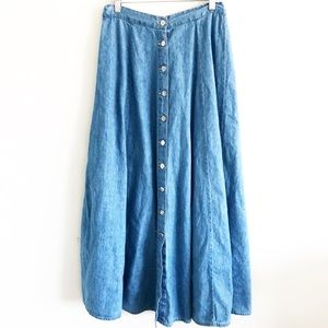 Vintage Denim Button Front Maxi Skirt